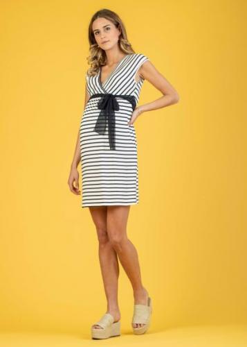 Attesa, Jersey-Kleid mit Stillfunktion, ecru-blau+ blau-ecru,XS - XL, € 69,95